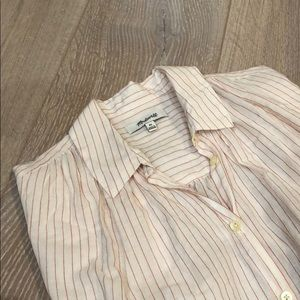 Madewell Central Shirt in Coral Stripe